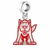 South Dakota Coyotes Silver Logo and School Color Drop Charm
