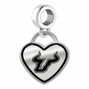 South Florida Bulls Border Heart Dangle Charm