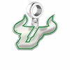 South Florida Bulls Silver Logo and School Color Drop Charm