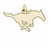 Southern Methodist Mustangs 14K Yellow Gold Natural Finish Cut Out Logo Charm