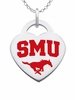 Southern Methodist Mustangs Color Logo Heart Charm