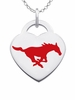 Southern Methodist Mustangs Logo Heart Pendant With Color