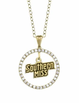 Southern Mississippi Golden Eagles Gold and Diamond Circle Pendant