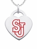 St. John's Red Storm Logo Heart Pendant With Color