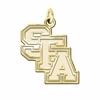 Stephen F Austin Lumberjacks 14K Yellow Gold Natural Finish Cut Out Logo Charm