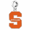 Syracuse Orangemen Silver Logo and School Color Drop Charm