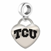 Texas Christian Engraved Heart Dangle Charm