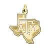 Texas A&M Aggies 14K Yellow Gold Natural Finish Cut Out Logo Charm