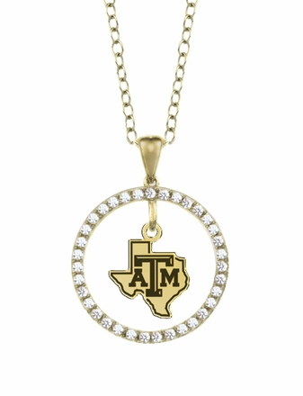 Texas A&M Aggies Gold and Diamond Circle Pendant