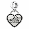 Texas Christian Horned Frogs Border Heart Dangle Charm