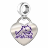 Texas Christian Horned Frogs Color Heart Dangle