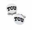 Texas Christian Horned Frogs Cufflinks Stainless Steel Round Top