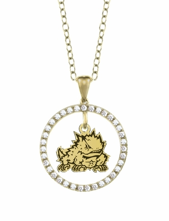 Texas Christian Horned Frogs Gold and Diamond Circle Pendant