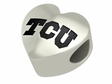 Texas Christian Horned Frogs Heart Shape Bead
