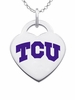 Texas Christian Logo Heart Pendant With Color