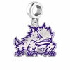 Texas Christian Horned Frogs Silver Logo and School Color Drop Charm