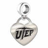 Texas El Paso Engraved Heart Dangle Charm
