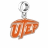 Texas El Paso Miners Silver Logo and School Color Drop Charm