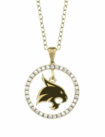 Texas State Bobcats Gold and Diamond Circle Pendant