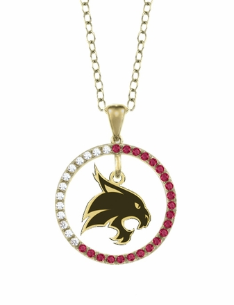 Texas State Bobcats Ruby and Diamond Necklace