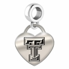 Texas Tech Engraved Heart Dangle Charm