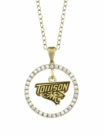 Towson Tigers Gold and Diamond Circle Pendant