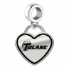 Tulane Green Wave Border Heart Dangle Charm