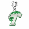 Tulane Green Wave Silver Logo and School Color Drop Charm