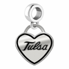 Tulsa Golden Hurricane Border Heart Dangle Charm
