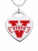 Valdosta State Blazers Logo Heart Pendant With Color