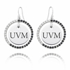 Vermont Black and White CZ Circle Earrings