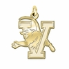 Vermont Catamounts 14K Yellow Gold Natural Finish Cut Out Logo Charm
