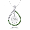 Vermont Catamounts Green CZ Figure 8 Necklace