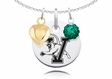 Vermont Catamounts Necklace with Heart and Crystal Accents