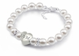 Vermont Catamounts White Pearl Heart Bracelet