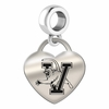 Vermont Engraved Heart Dangle Charm