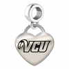 Virginia Commonwealth Engraved Heart Dangle Charm