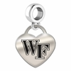 Wake Forest Engraved Heart Dangle Charm