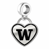 Washington Huskies Border Heart Dangle Charm