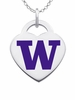 Washington Huskies Logo Heart Pendant With Color