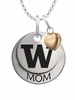 Washington Huskies MOM Necklace with Heart Charm