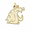 Washington State Cougars 14K Yellow Gold Natural Finish Cut Out Logo Charm