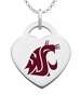 Washington State Cougars Logo Heart Pendant With Color