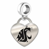 Washington State Engraved Heart Dangle Charm