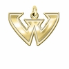 Wayne State Warriors 14K Yellow Gold Natural Finish Cut Out Logo Charm