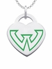 Wayne State Warriors Logo Heart Pendant With Color