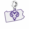 West Chester Golden Rams Logo Dangle Charm