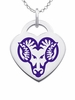 West Chester Golden Rams Logo Heart Pendant With Color