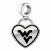 West Virginia Mountaineers Border Heart Dangle Charm