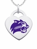 Western Carolina Catamounts Logo Heart Pendant With Color